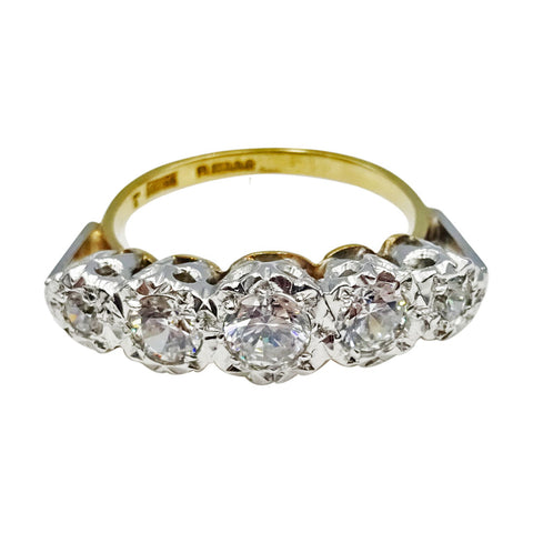 9ct Gold Ladies Cubic Zirconia Vintage 5 Stone Half Eternity Ring 6.5mm Size N - Richard Miles Jewellers