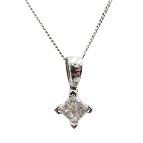 9ct White Gold 0.15ct Princess Cut Diamond Ladies Pendant & Necklace 18inch - Richard Miles Jewellers