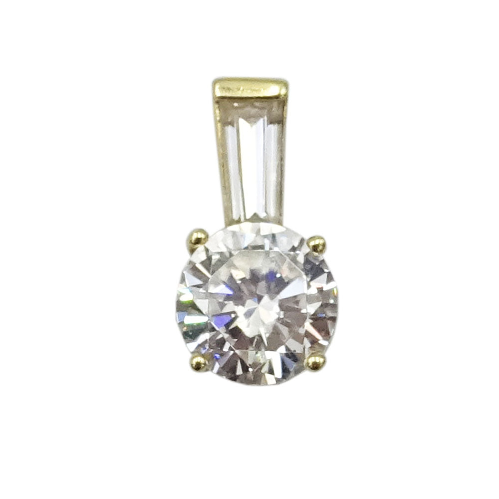 14ct Yellow Gold Cubic Zirconia 6mm Circle Pendant 0.87g - Richard Miles Jewellers
