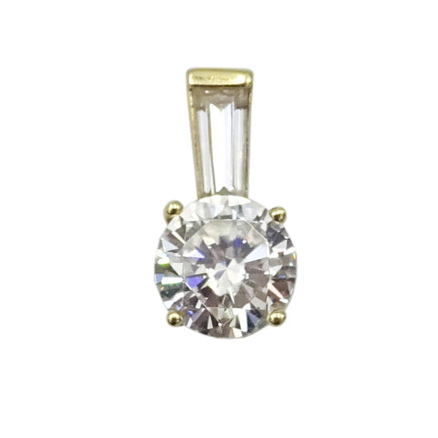 14ct Yellow Gold Cubic Zirconia 6mm Circle Pendant 0.87g