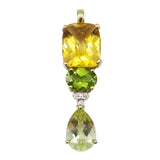 18ct Yellow Gold Citrine Peridot & Diamond 0.02ct Ladies Pendant 3.9g - Richard Miles Jewellers