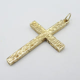 9ct Yellow Gold Two Sided Tree Bark Effect & Plain Cross Pendant 7.8G - Richard Miles Jewellers