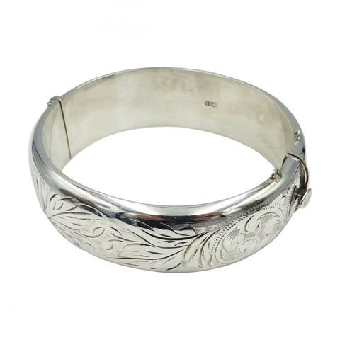 Ladies Sterling Silver 925 Vintage Floral Design Bangle Bracelet 6.8inch 28.5G - Richard Miles Jewellers