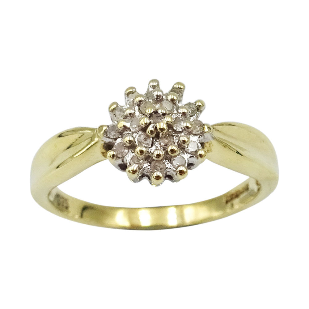 9ct Yellow Gold 0.25ct Diamond Quality Claw Set Ladies Ring Size L 2.4g - Richard Miles Jewellers