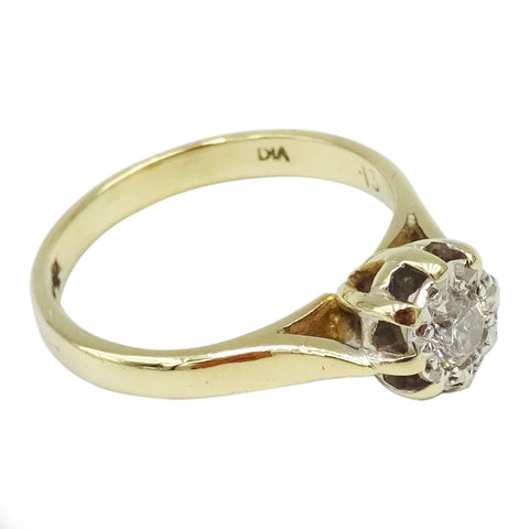 9ct Yellow Gold Ladies Claw Set Diamond Ring 0.05ct