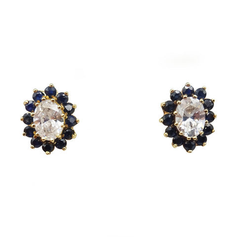 9ct Yellow Gold Sapphire Cluster & Oval Cubic Zirconia Earrings 2.4g - Richard Miles Jewellers