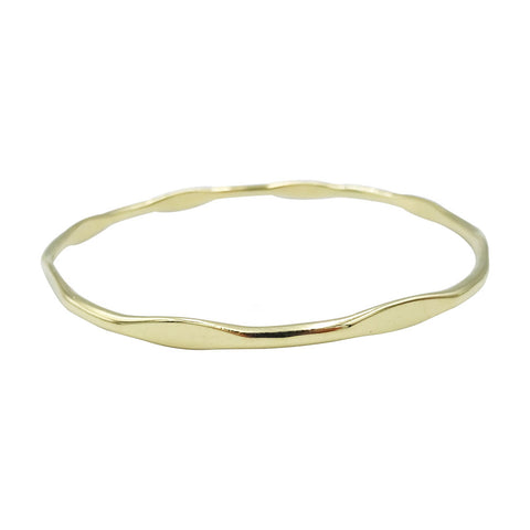 Pre-Owned 9ct Yellow Solid Gold Ladies Flat Pattern Bangle 7.7 inches 10.34g - Richard Miles Jewellers
