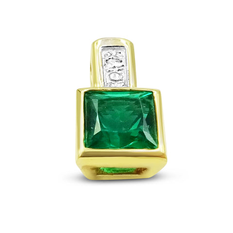18ct Gold Green Stone and Diamond Pendant
