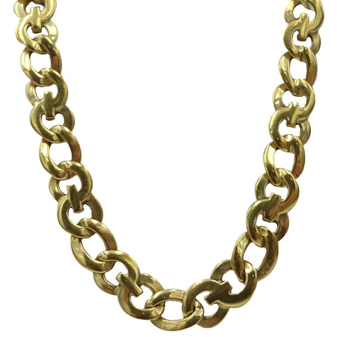 9ct Yellow Gold Fancy Shiny Finish Double Link Chain 19inch 21.3g 6.4mm - Richard Miles Jewellers