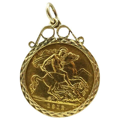 22ct Yellow Gold George V 1/2 Sovereign With Vintage Pendant 5.2g - Richard Miles Jewellers