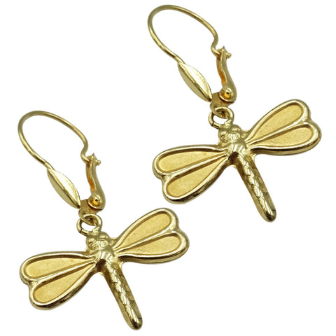 18ct Yellow Gold Ladies Dragonfly Drop Earrings 1.8g - Richard Miles Jewellers