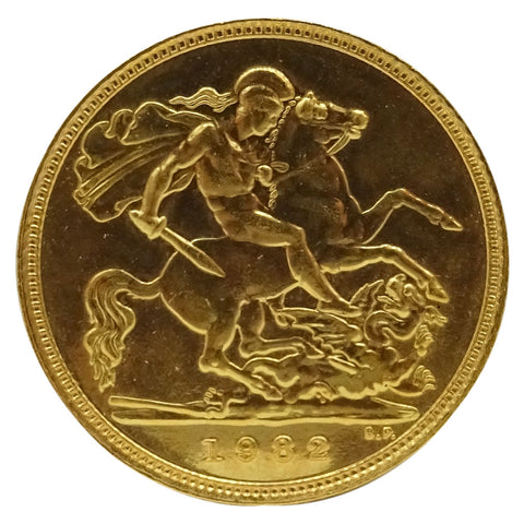 22ct Gold 1/2 Sovereign 1982 Elizabeth II 3.9g - Richard Miles Jewellers