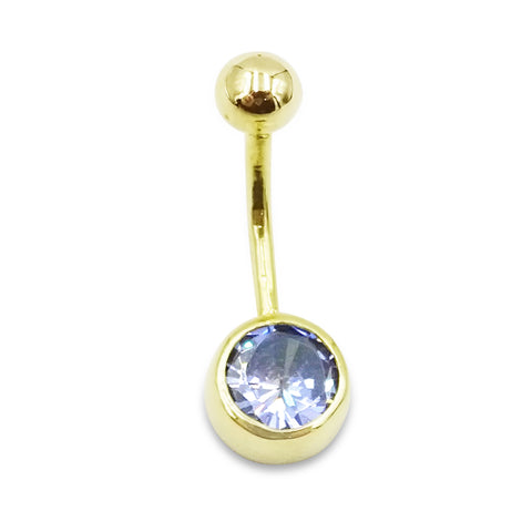 14ct Blue Stone Belly Bar And Screw