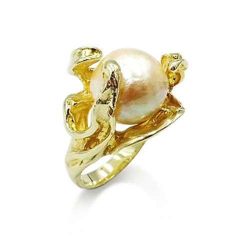 14ct Yellow Gold Cultured Pearl Ring