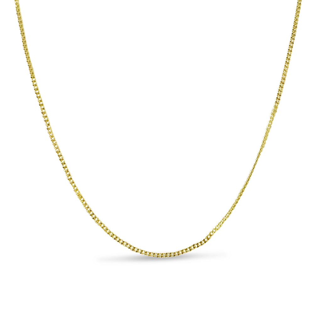 9ct Yellow Gold Fine Curb Chain Lightweight 18 Inches