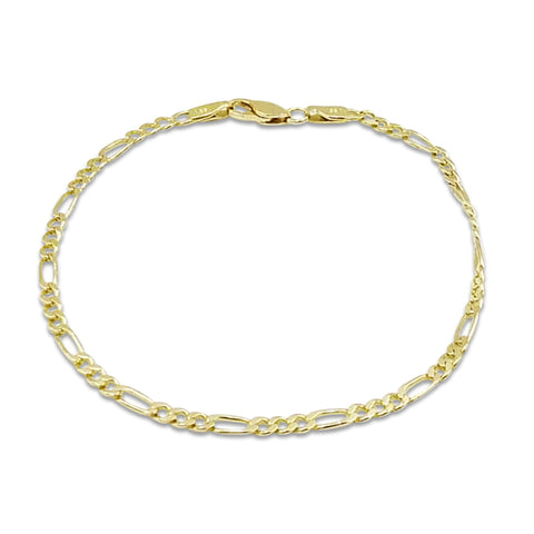 14ct Yellow Gold Figaro Bracelet 8 Inches