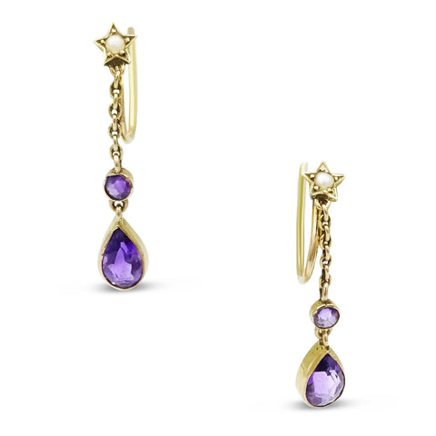 9ct Amethyst Pearl Earrings  (For Non-Pierced Ears)