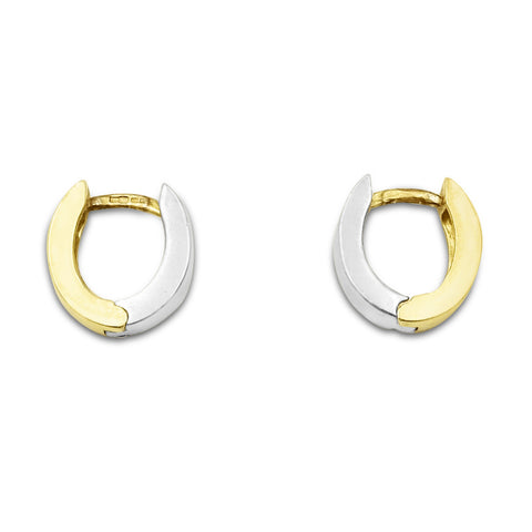 18ct Two Colour Gold Huggie Earrings