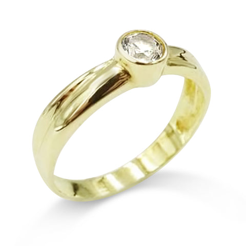 14ct Yellow Gold Round CZ Ring Size Q