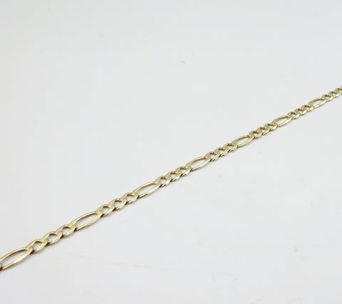 9ct Gold Figaro Bracelet 7.5 Inches