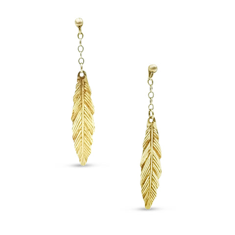 9ct Gold, Leaf Drop Earrings