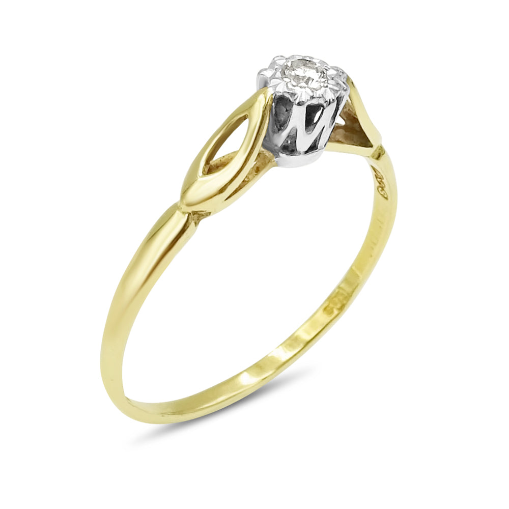 18ct Gold Ladies Vintage Diamond Ring 0.05ct