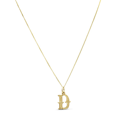 9ct Gold D Initial Pendent and Chain