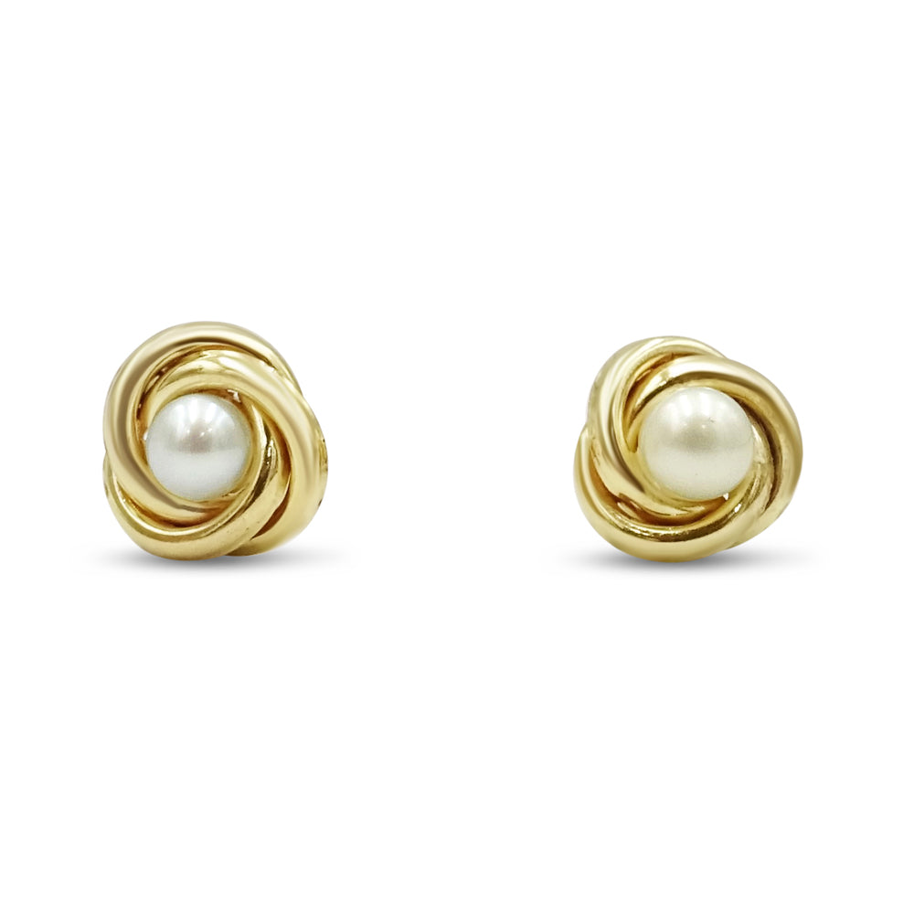 9ct Gold Cultured Round Pearl Studs