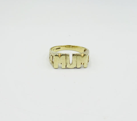 9ct Gold MUM Ring Size R 1/2