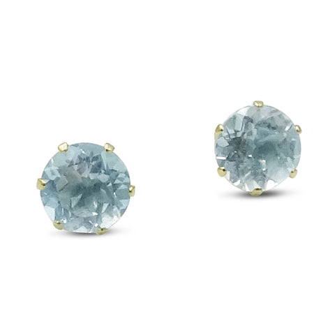 9ct Gold Blue Cubic Zirconia Studs 7mm