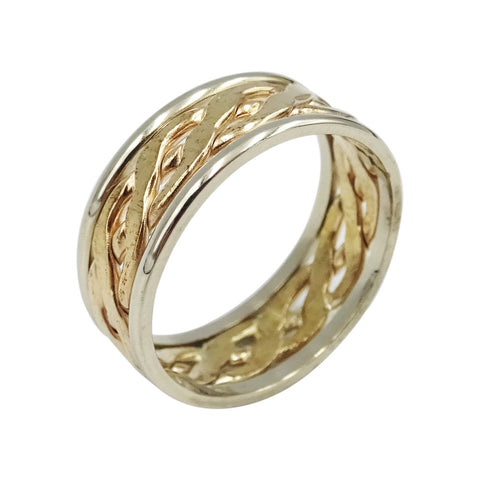 9ct Yellow & White Gold Two Tone Celtic Wedding Band Size K - Richard Miles Jewellers