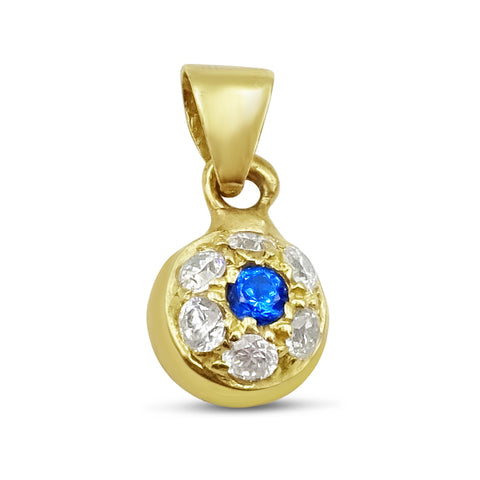 14ct Gold Heart CZ and Blue Stone Pendant