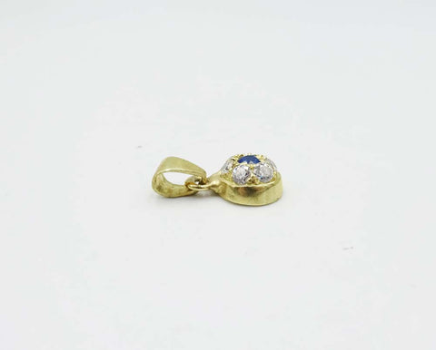 14ct Gold Heart CZ and Blue Stone Pendent