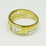 9ct Yellow White Gold Zig Zag Design Band Shiny & Matt Intertwined Finishes Size K 2g