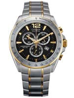 Citizen Mens Two Tone Eco- Drive Chronograph Watch AT2074-58E
