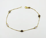 9ct Yellow Gold 5 Bead Fine Curb Quality Ladies Bracelet 7.25inch 1.1g