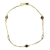9ct Yellow Gold 5 Bead Fine Curb Quality Ladies Bracelet 7.25inch 1.1g - Richard Miles Jewellers