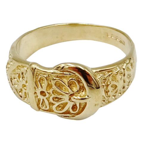 9ct Yellow Gold Quality Detailed Belt Buckle Ladies Ring Size O 3.6g 9.6mm - Richard Miles Jewellers