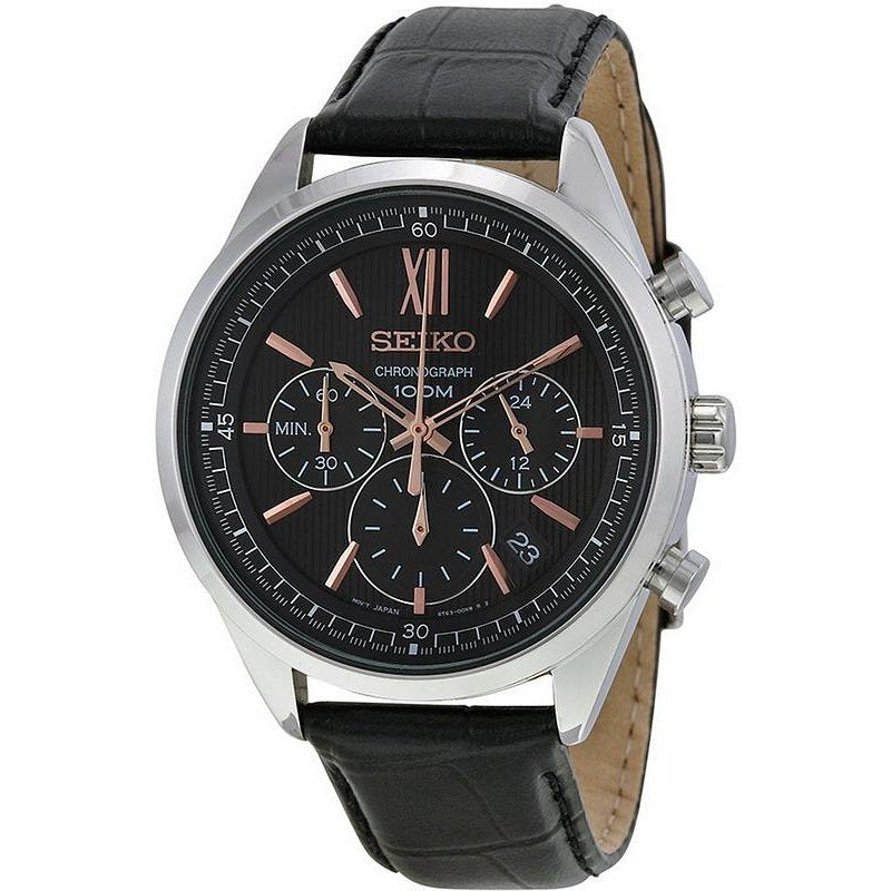 Seiko Gents Black Rose Gold Detail Chronograph 100m Watch SSB159P1 - Richard Miles Jewellers
