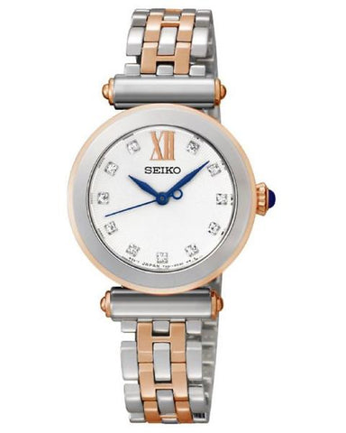 Seiko Ladies Two Tone Swarovski Crystal Blue Accent Watch SRZ400P1 - Richard Miles Jewellers