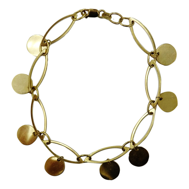 9ct Yellow Gold Fancy Smooth Finish Ellipse Ladies Bracelet 8inch 5.1g - Richard Miles Jewellers