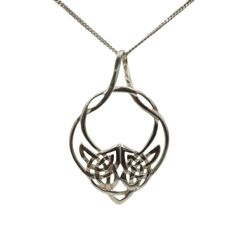 "Sterling Silver Ladies Intricate Celtic Design Pendant 16"" Chain"