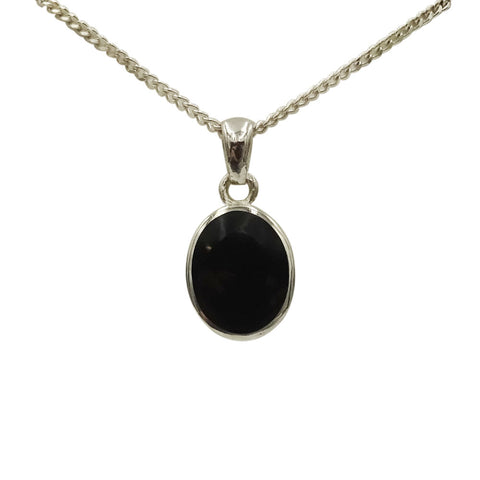 "Sterling Silver Ladies Oval Black Enamel Pendant 18"" Chain - Richard Miles Jewellers"