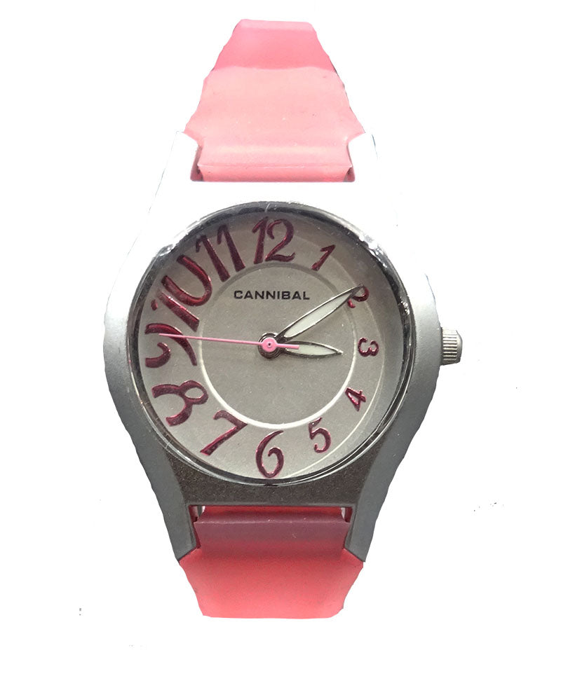 Cannibal Oval Satin Finish Girls Pink Silicone Strap Battery Watch CL141