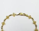 9ct Yellow Gold Celtic Link Belcher Fancy Cross Ladies Bracelet 7.25inch 3.5g - Richard Miles Jewellers