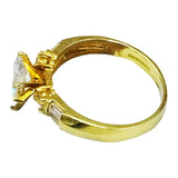 9ct 375 Hall Marked Yellow Gold Cubic Zirconia Claw Set Dress Ring Size P 3g - Richard Miles Jewellers