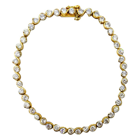 9ct Yellow Gold Cubic Zirconia Set Shiny Ladies Swirl Effect Bracelet 8inch 7.9g