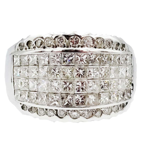 18ct White Gold 2ct Diamond Mens Luxury Cluster Statement Pinky Ring Size Q 1/2 9.2g - Richard Miles Jewellers