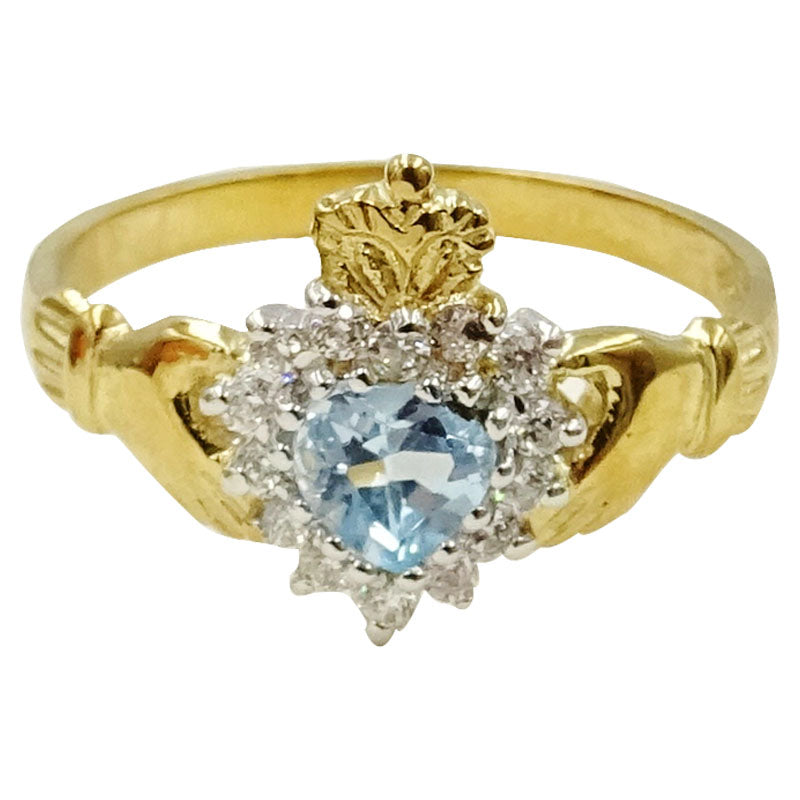 9ct Gold Blue Ladies Clear Cubic Zirconia Heart Of Claddagh Size P 2.4g 12.9mm