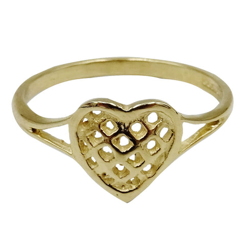 9ct Yellow Gold Open Fretted Heart Ladies Ring Size O 1.4g 9.15mm